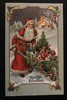 ~Santa Claus with Wheelbarrow~Made of Holly~Toys~Antique Christmas Postcard~b3