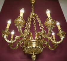 WOW HEAVY GOLD BRONZE SOLID MAZARIN 8 LIGHT FRENCH LIGHTINGS CHANDELIER LAMP