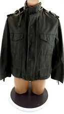 H & M MENS OLIVE HEAVY CANVAS HOODED JACKET SIZE US 40R