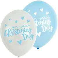 6 x Pretty Baby Boys Christening Balloons Decoration Blue & white Helium or air
