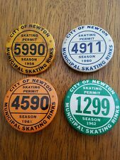 Rare city of Newton skating permit pin back buttons set of 4, 1958- 1962