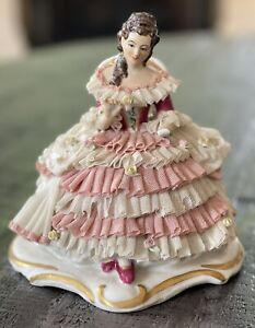 Vintage Dresden Lady figurine, Hand Painted made in Ireland