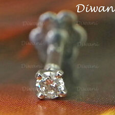 1.9mm Real i Diamond Solitaire Lip Labret Nose Screw Piercing Pin Stud Ring Gold