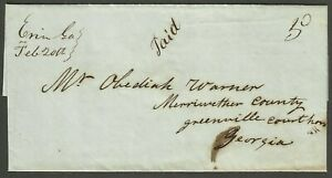 Erin, Ga. [DPO] ms. on 1849 SFL w/brief business letter.  Unlisted ASCC.