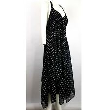 Amanda Lane 16 Halter Dress Black/White Polka Dot Midi Flowy Lined Side Zip