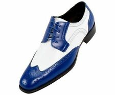 Men's Handmade Blue & White Wing Tip Brogue Leather Lace Up Dress Fashion Shoes