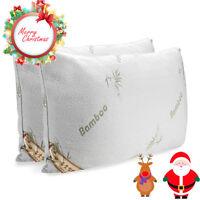 New Queen King Bamboo Pillow Memory Foam Hypoallergenic Cool &@