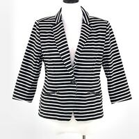Christian Siriano Runway Blazer Large Black White Striped Jacket Nautical Casual