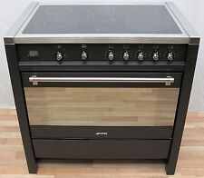 SMEG ELECTRIC RANGE COOKER LARGE SINGLE OVEN ANTHRACITE & STAINLESS STEEL 90 CM
