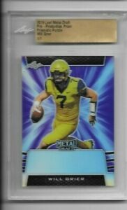 Will Grier 2019 Leaf Metal Draft RC Pre-Production Proof Prismatic PURPLE 1/1
