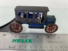 Hubley Taxi Early 1900s cast iron car Challenging blue with metal wheels