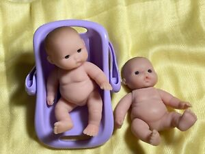 """LOT OF 2 Miniature 5"""" Chubby Realistic BERENGUER BABY DOLLS Brown Blue Eyes"""