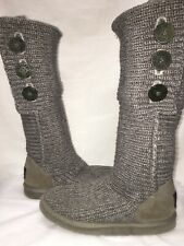 UGG Gray Sweater Boots Knee Length Fold Down 3 Buttons Size 7 Nice Condition
