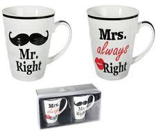Porcelain Mug Mr Right & Mrs Always Right Present Gift Valentine's Kiss Wedding