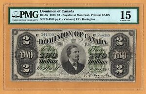 Dominion of Canada $2 Dollars Montreal F PMG-15 1878 P-19a DC-9a BABN Banknote