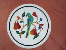 "12"" Marble Coffee Table Top Parrot Design Marquetry Inlay Home Decor Gifts"