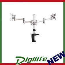 Brateck Dual Monitor Elegant Aluminium w/Arm&Desk Clamp Silver VESA75/100mm