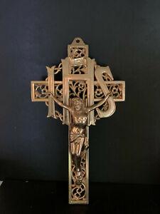 Vintage Solid Brass Crucifix Catholic INRI IHS Filigree Wall Mount Jesus Cross