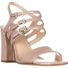 Block Heel Patent Leather Sandals Solid Heels for Women