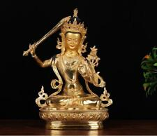 "12"" Asian Antique Tibet copper gilt hand painting Manjusri Bodhisattva statue"