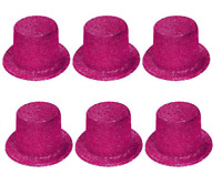 6 x LADIES HEN NIGHT PARTY TOP HATS PINK GLITTER SPARKLE FANCY DRESS TOPPERS Q26