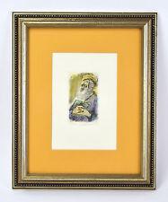 Hand Colored L/E Etching Rabbi Scholar sgnd Ira Moskowitz Polish American Artist
