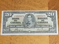 ➡➡UNGRADED 1937 BC-25c VF+ Nice Bank of Canada 1937 $20 H/E 2603476 Circulated