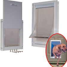 Extra Large Dog Door Frame Aluminum Pet Cat Door W/ Telescoping White Frame Pets
