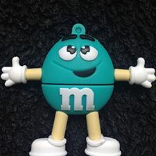 1 Azul M&m carácter, Novelty Pen Drive Usb 4GB, unidad portátil de memoria Flash USB