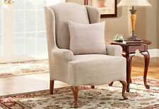 Sure Fit Stretch Suede Wing Chair Wingback Slipcover in Linen Color One Piece