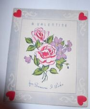Vtg 1950's Roses For Someone Like You Embossed Valentine's Day Card Doubl-Glo