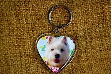 Westie West Highland White Gift Keyring Dog Key Ring heart Birthday Gift