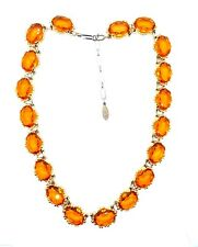 Vintage Czech Gablonz Topaz Coloured glass Riviera necklace.