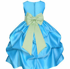 TURQUOISE BLUE COLOR DRESS FLOWER GIRL WEDDING BRIDESMAID BIRTHDAY BRIDAL CHILDS