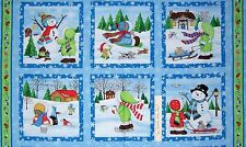"Christmas Fabric - Snow Babies Kids Snowman Blocks Blue Green - SSI 23"" Panel"