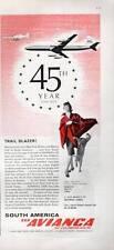 1964 Avianca Airlines Red Ruana Stewardess Ocelot PRINT AD