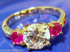 SALE!!! NEW QUALITY GOLD PLATED PINK & DIAMOND ZIRCONIA RING SIZE  N Q P R #984