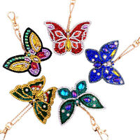 5PC Key Chains Butterfly Diamond Painting Pendant DIY Resin Key Ring Keychain