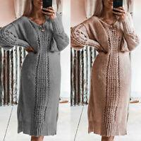 Women Knitted Sweater Midi Dress Ladies Winter Autumn V Neck Jumper Pullover New