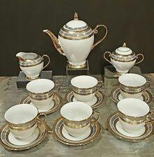 NEW Bone China Tea Set For 6 White/Gold 17 PCS Versace Print/Germany Design*SALE