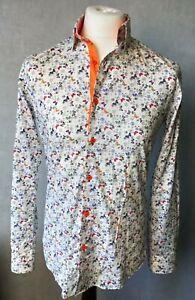 Mens Designer Shirt - CAMBERRY LONDON - Wild Butterflies - White / Orange Size S