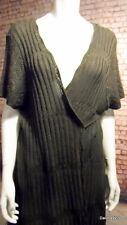 stunning Ann Harvey tie front short sleeve crochet long brown cardi 24  NEW