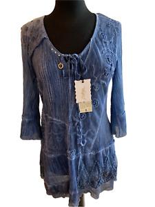 ELISA CAVALETTI BOTTEGA ITALIAN DESIGNER *New/Tags* BLUE knee length DRESS *Med*