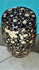 """New listing B) Beautiful Porcelain Garden Seat Navy Nearly Black 18""""T Flowers & Gold Plate!"""