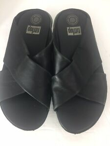 FitFlop Women's 8 Kys Black Leather Slide Sandals EU-39 Criss Cross Wobbleboard