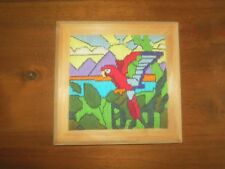 "Wood Framed PARROT Longstitch CREWEL EMBROIDERY Wall Hanging - 6"" x 6"""