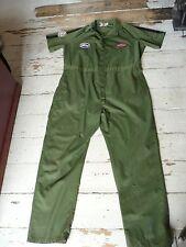 Vintage Khaki Green Mechanics Pit Stop Workwear Overalls Coveralls Boiler Suit