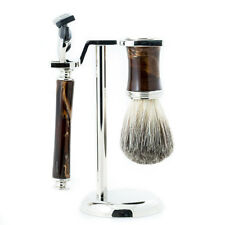 "Bey Berk Fusion"" Razor & Pure Badger Brush with Marbleized Brown"