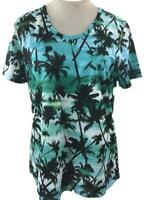 Reel Legends stretch top size L FREELINE green blue palm trees short sleeve