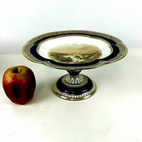 19th C English Porcelain Compote Cake Stand Hand Painted Cobalt Blue Gold